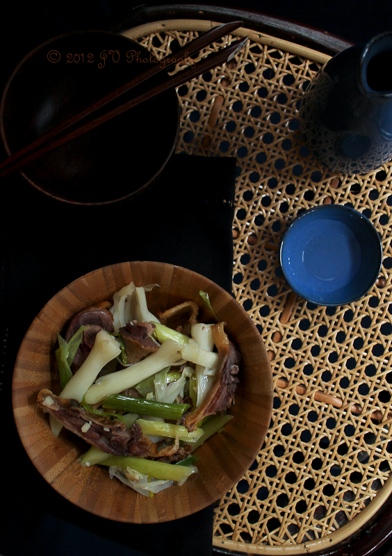 Chinese Leeks & Waxed Duck Stir-fry