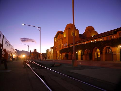 california usa 3 station train sunrise platform tracks amtrak sanbernardino sanbernardinocounty southwestchief superliner atsf missionrevival