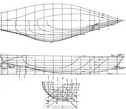 Newspaper Taxi - yacht design by Paul Whiting - lines plan. Book - A lighter ton by Richard Blakey