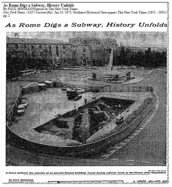 ROMA ARCHEOLOGICA - Roma, Tombaroli in Metropolitana A [1971], in: NYT (23/01/1971), p. 2,* cfr: ROMA ARCHEOLOGICA - Roma, Tombaroli in Metroplitana [B1 e C], (22/03/2012).**