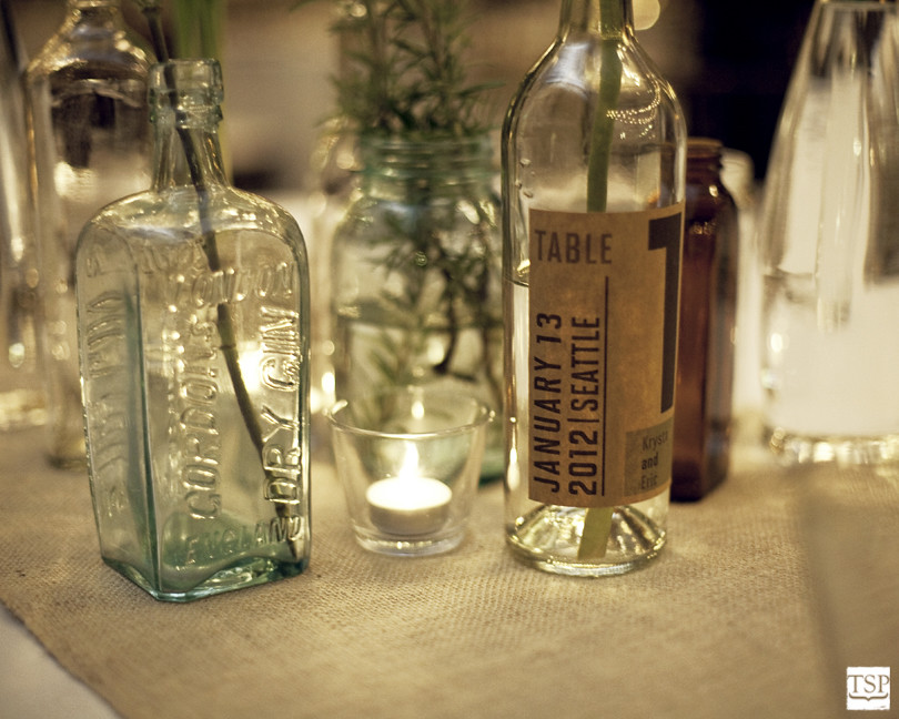 Antique Glass Bottles Centerpiece
