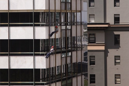 Abseilers still inspecting the facade