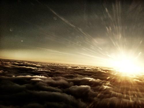 sky sun clouds plane sunrise sarasota iphoneography