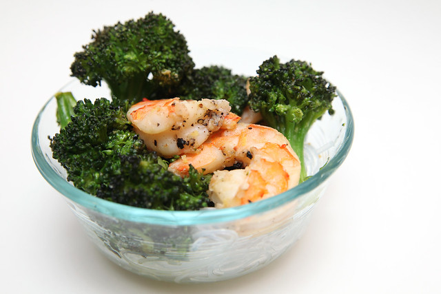 Roasted Broccoli and Shrimp