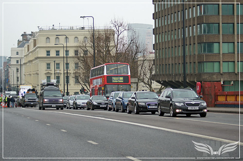 The Establishing Shot: Skyfall Vauxhall Bridge - Judi Dench & Rory Kinnear in M's Jaguar XJL Interior Shots crossing Bridge towards MI6 by Craig Grobler