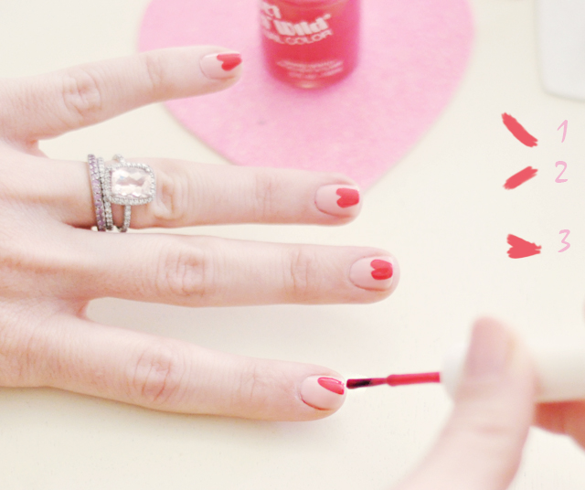 valentines day heart  nails manicure