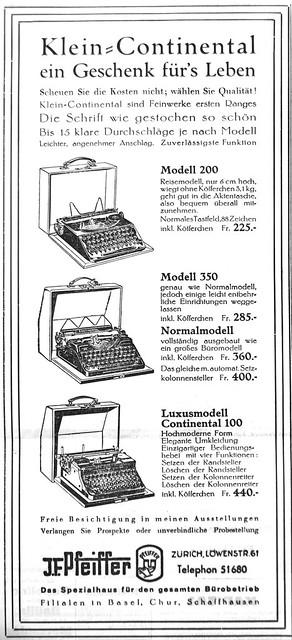 Continental typewriter ad