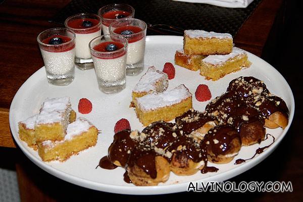 Close up of the dessert items