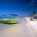 Eagle Beach View with a Boat and Plapas, Aruba, Dutch Antilles