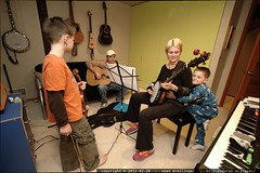 evening bluegrass jam, rachel with pajama clad group…