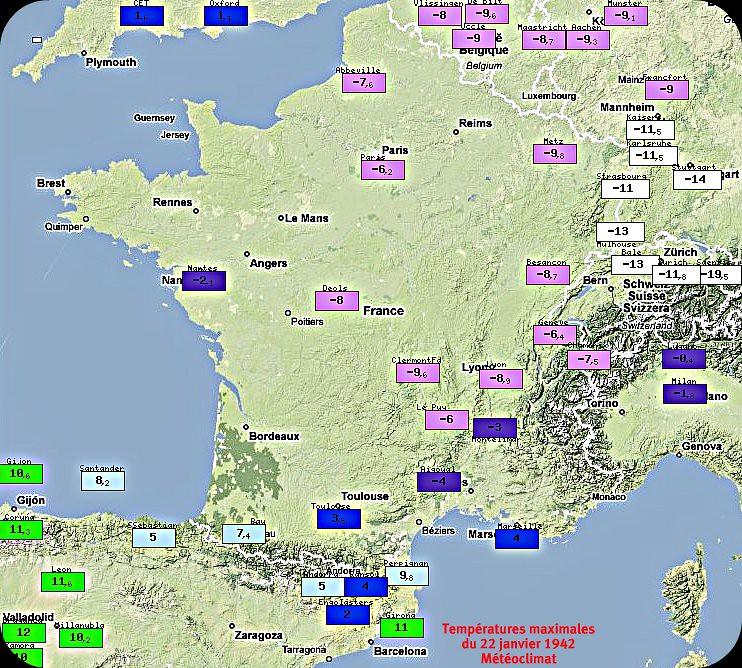 températures maximales glaciales du 22 janvier 1942 météopassion
