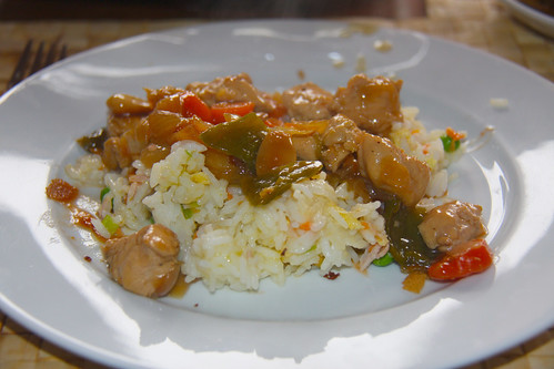 Chinese Almond Chicken Vegetables on Rice