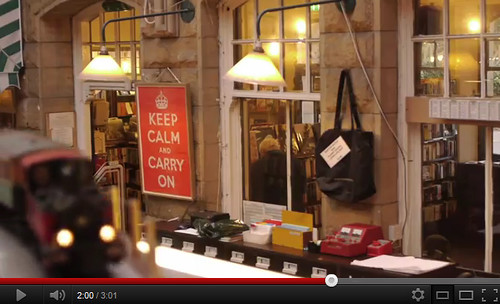 Keep Calm Carry on poster in Barter Books