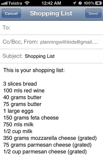 Menu Planner App - email shopping list