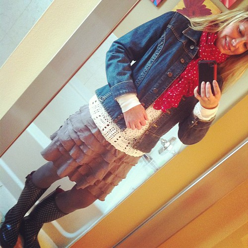 Wednesday ootd: Oh spring, where art thou?  Rainy and chilly again.  Denim jacket forever old, new Garnet Hill tiered skirt, crochet top Liz Claiborne, polka dot boots and scarf, Target.