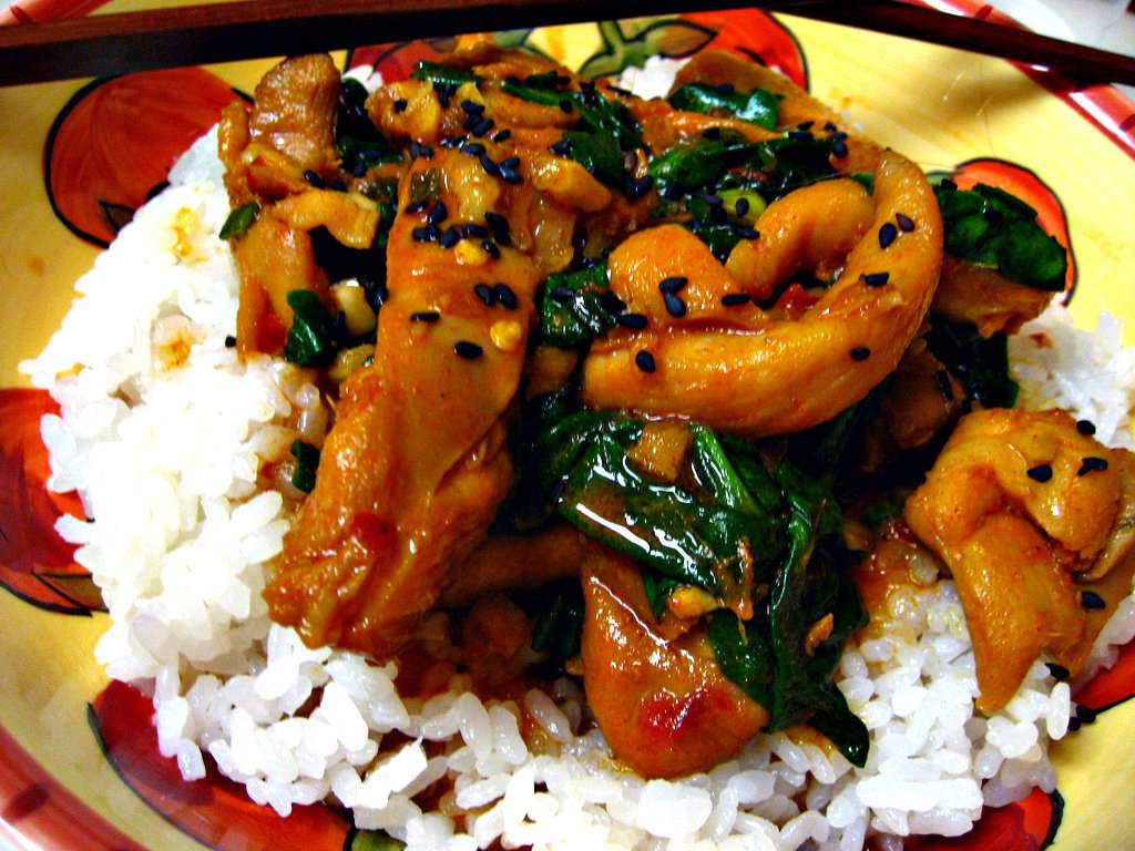 Dak Bokkeum with Spinach