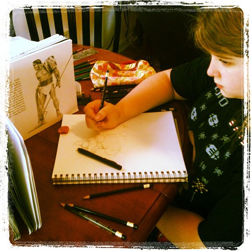 Sketching gladiators for #homeschool history