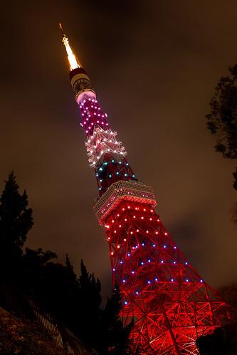 [フリー画像素材] 建築物・町並み, 塔・タワー, 東京タワー, 風景 - 日本, 日本 - 東京, 夜景 ID:201203211600