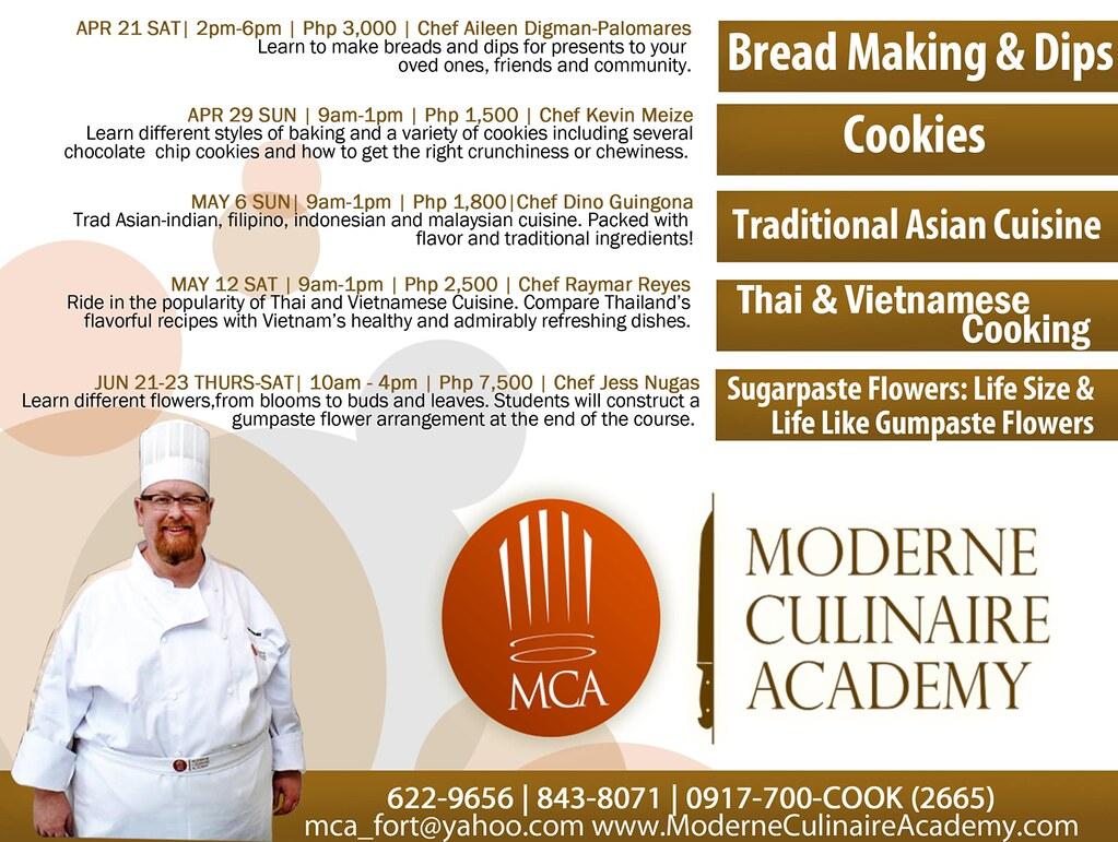 Moderne Culinaire Academy Schedule 2