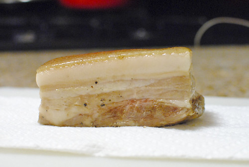 sous vide pork belly confit with skin