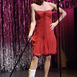 """Despite a broken ankle, Christina Applegate (Janet Dickinson) insists on performing in the Broadway revival of """"Sweet Charity"""" in """"Forbidden Broadway,"""" presented by the Huntington Theatre Company through at the Calderwood Pavilion at the Boston Center for the Arts. Part of the 2005-2006 season. Photo by Eric Antoniou."""