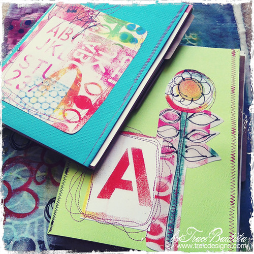free motion stitched art journals by traci bautista