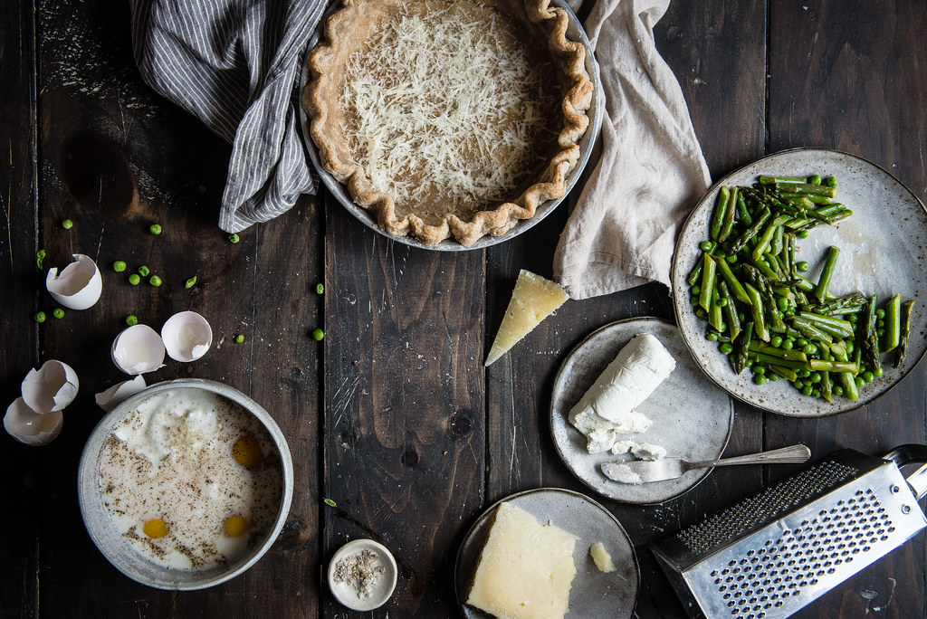 asparagus, spring pea, & goat cheese quiche | two red bowls