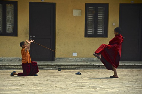 Young monks in Pharping Buddhist temple