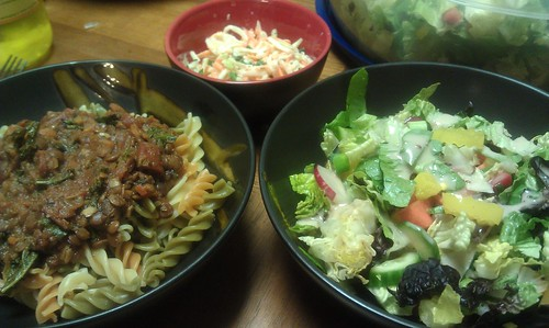 Bolognese with pasta. Salad & cole slaw