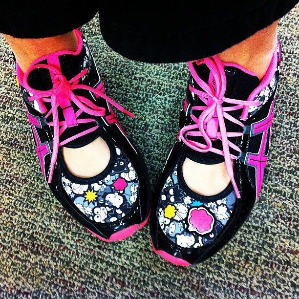 I am freeeee from work! Yippee! Time to put on some @Sanrio Asics that I heart! #shoes #febphotoaday