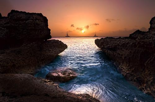 無料写真素材, 自然風景, ビーチ・海岸, 朝焼け・夕焼け, 風景  アルバ