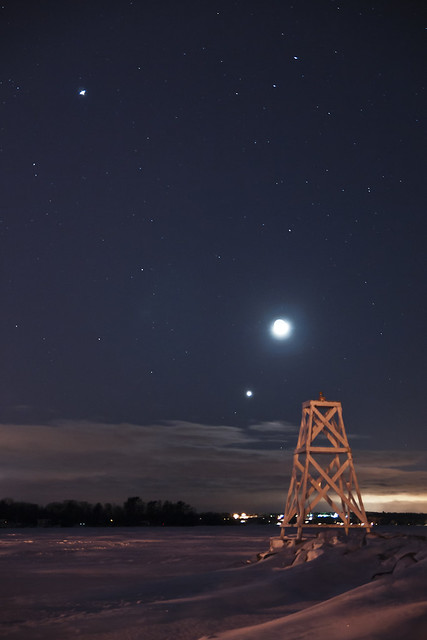 Conjunction Jupiter, Venus and the Moon