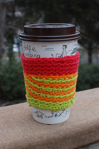 stripey coffee cup sleeve