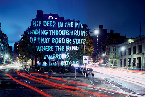 "STREET SCENE | ""For the City,"" a written projection in Cooper Square, by Jenny Holzer, 2005"