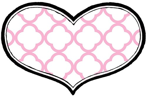 3 BRIGHT quatrefoil outline paper HEART