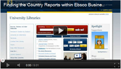 Thumbnail for video on finding country reports in Business Source Complete