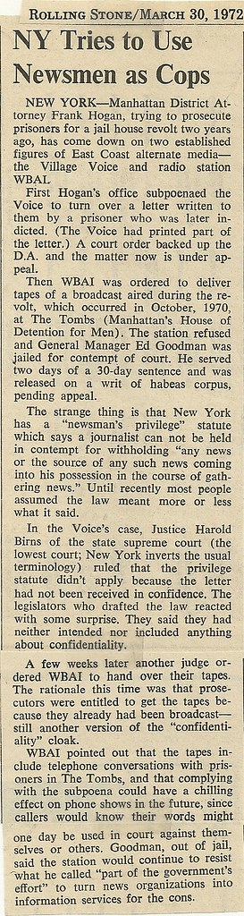 03-30-72 Newsmen as NYPD News Item(Rolling Stone Magazine)