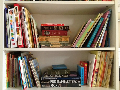 kids books on shelves