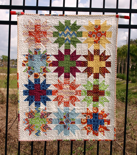 Star Crossed Stitch quilt - washed full shot