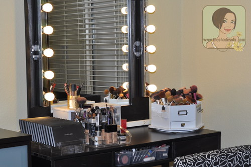 diy lighted makeup vanity.  My Makeup Vanity Set Up With DIY Lighted Mirror The Shades Of U