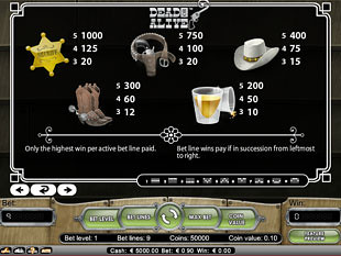 free Dead or Alive slot payout