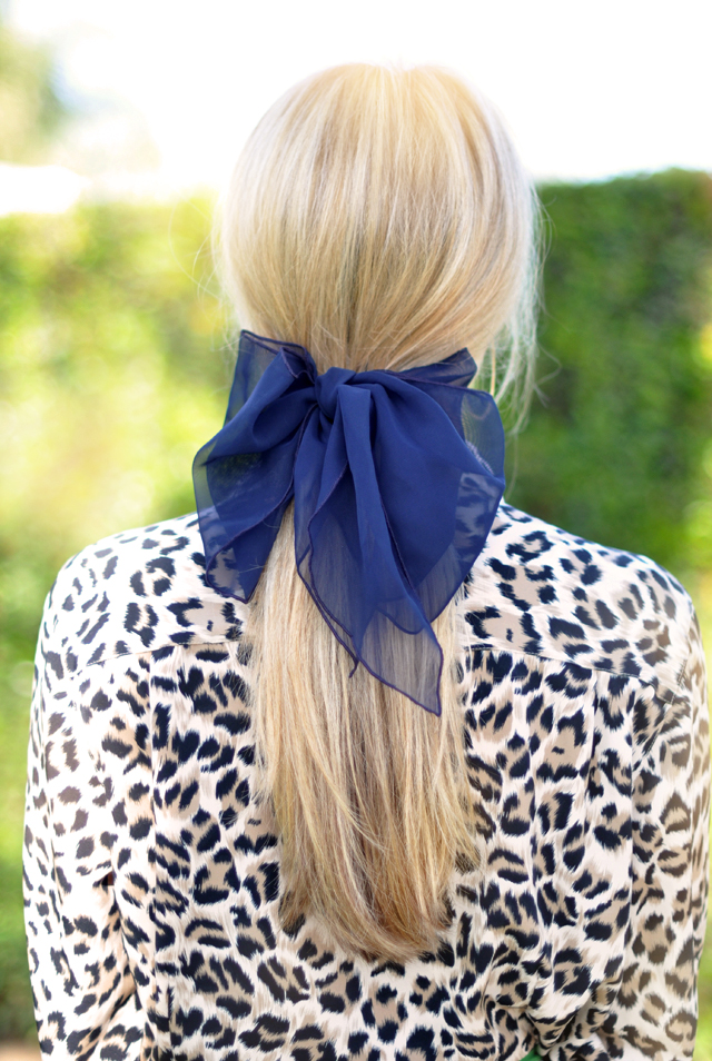 low ponytail - big adult hair bow- leopard blouse