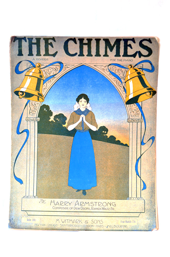 "Antique Art Nouveau Sheet Music ""The Chimes"""