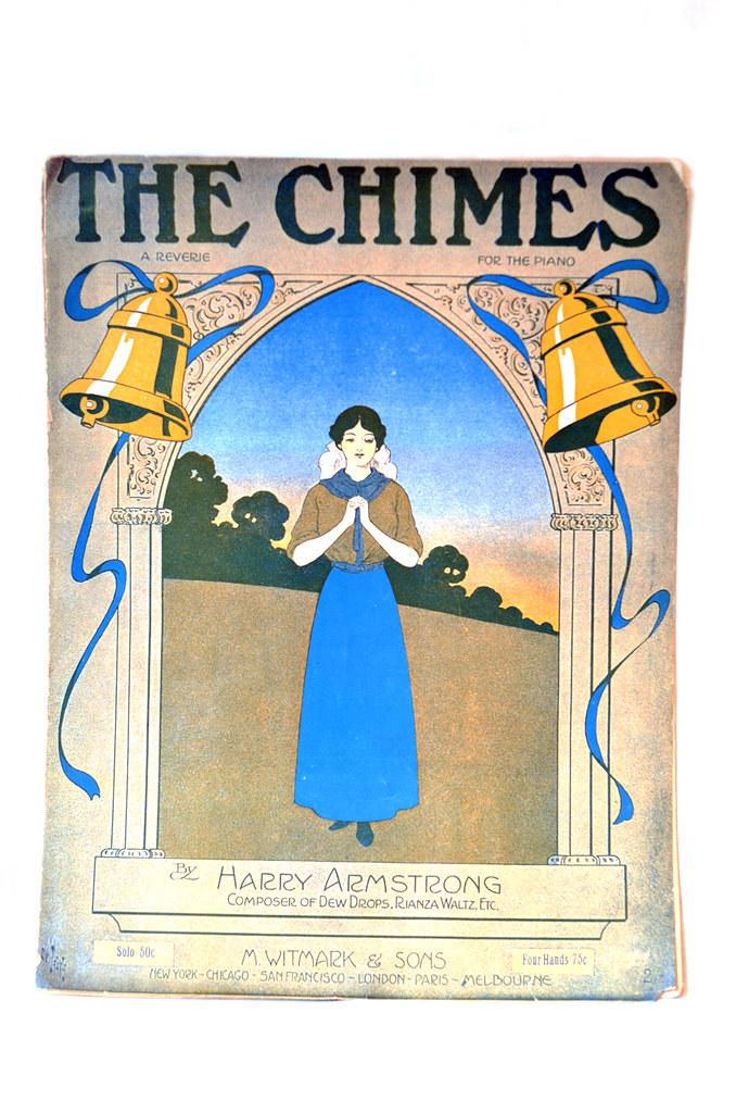 """Antique Art Nouveau Sheet Music """"The Chimes"""""""