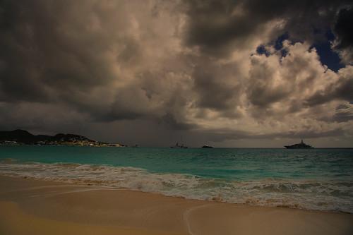 sea sky storm beach weather clouds boats nikon stmaarten 24120vr d700