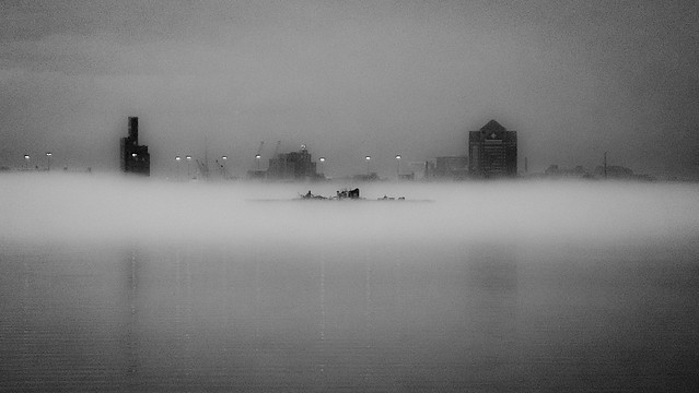 Baltimore across misty harbor