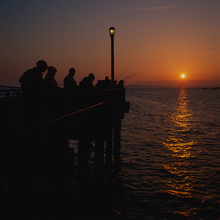 sunset fishing. steeplechase pier, coney island