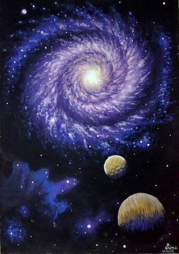 Galaxie pictura tempera - Galaxy painting