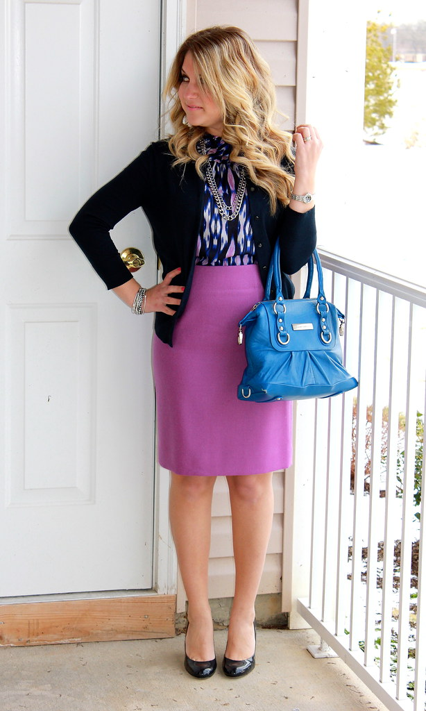 purple ikat work outfit