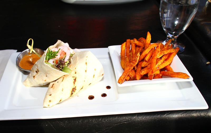 Wraps and sweet potato fries